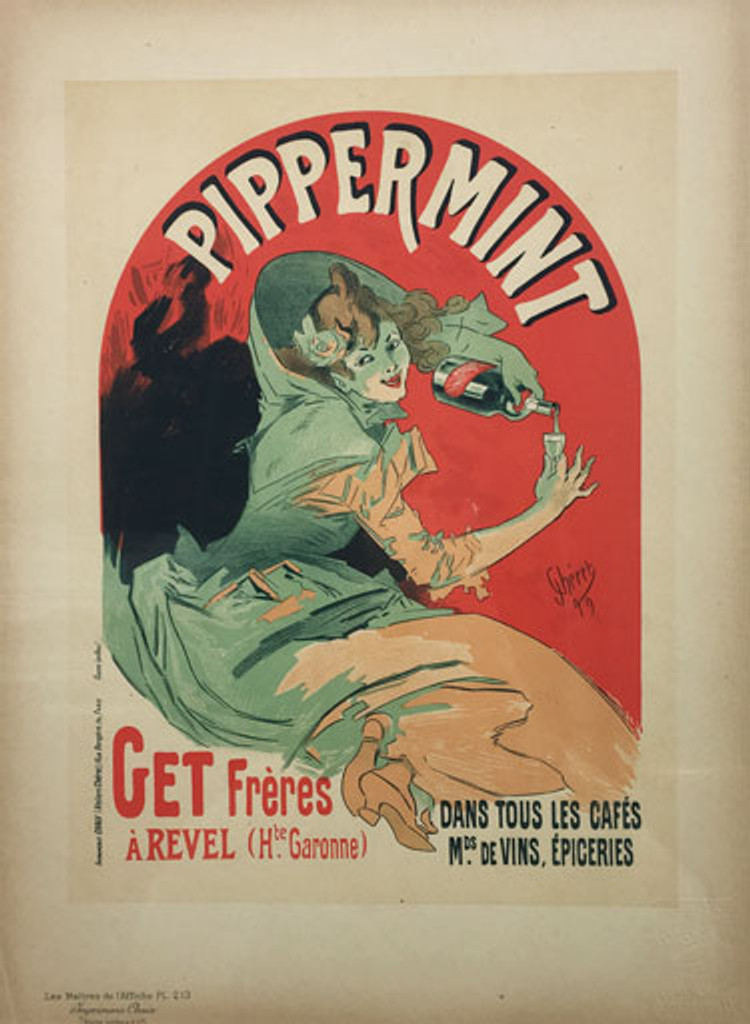 Pippermint Get freres by Jules Cheret Maitre De L Affiche Plate 213 1900 - Beautiful Vintage Poster. This lithograph shows a woman pouring from a bottle liquor into a tiny glass. Original Antique Posters