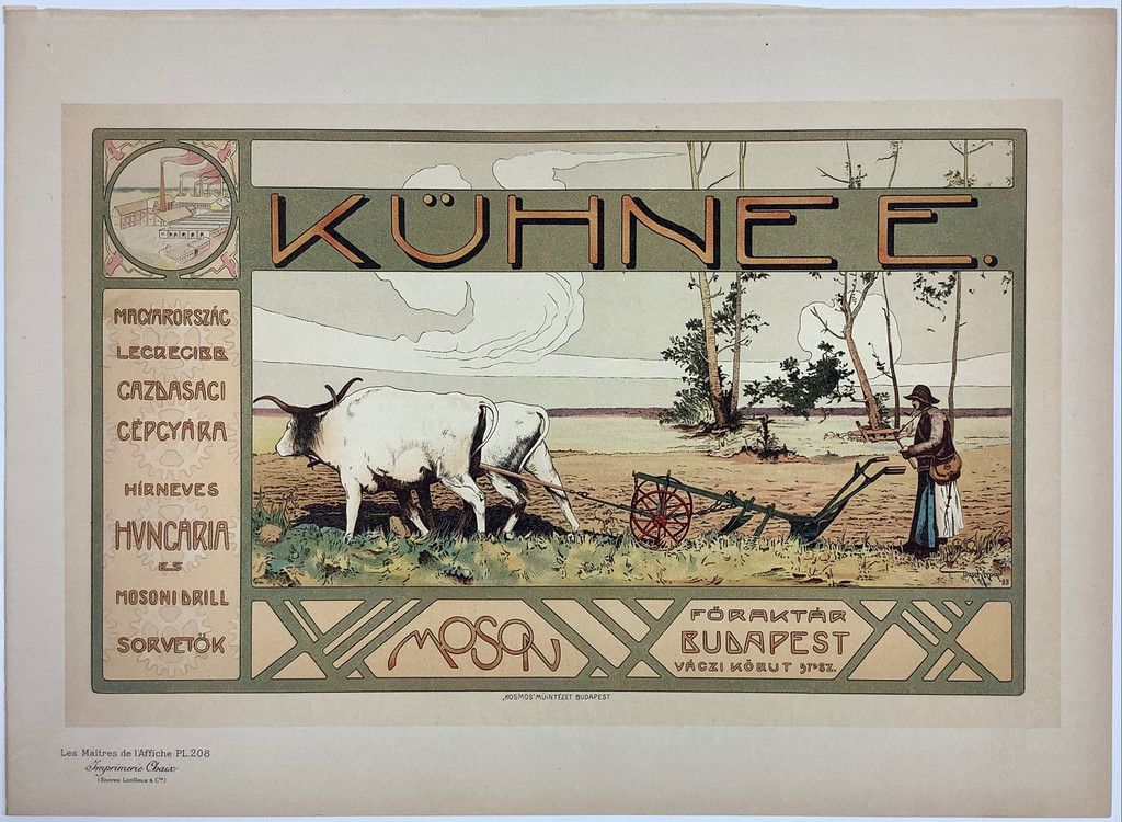 Kuhnee Les Maitres De L'Affiche Plate 208 by Arpad Basch 1900 - Original Vintage Poster. This lithograph shows a farmer in the field behind a plow pulled by two bulls. Collectible Antique Posters