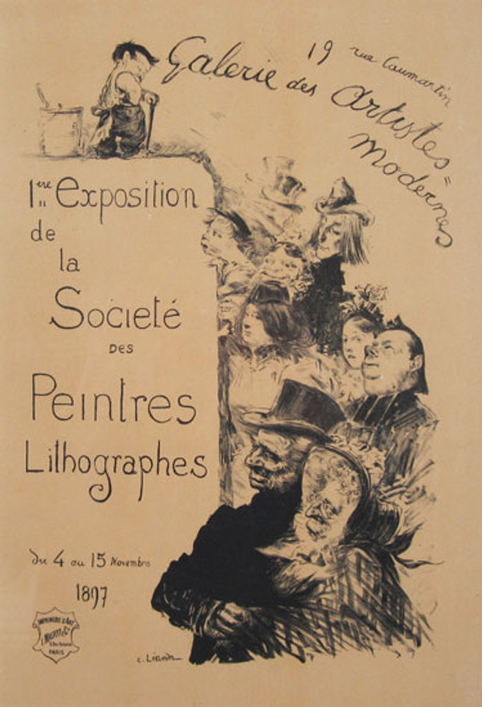 Exposition de la Societe des Peintres Lithographes Maitre De L Affiche Plate 206 by Charles Leandre 1900 - Beautiful Vintage Poster. This lithograph shows a crowd looking up at a tiny little man with a bucket looking down on them. Original Antique Posters