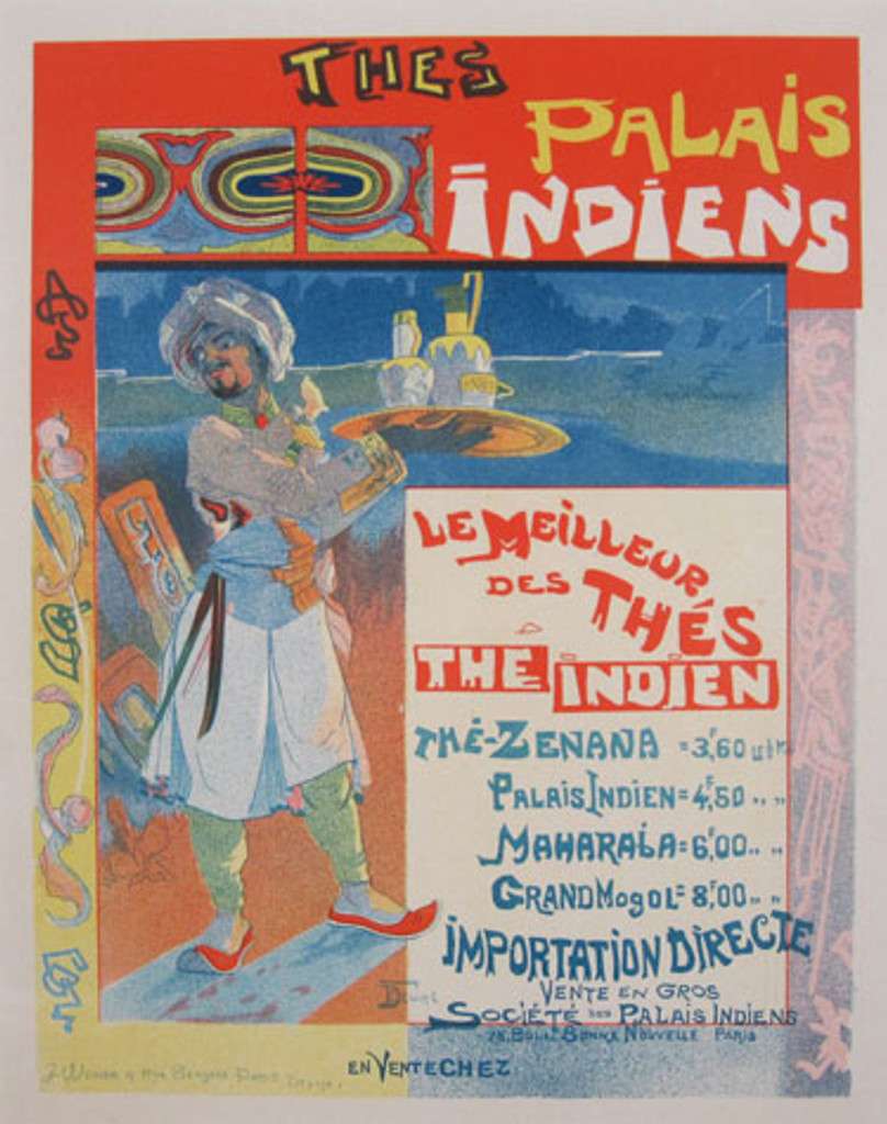 Thes Palais Indiens Maitre De L Affiche Plate 199 by Georges de Feure 1900 - Beautiful Vintage Poster. This lithograph shows an Indian man carrying a tray of tea wearing a turban and exotic costume. Original Antique Posters