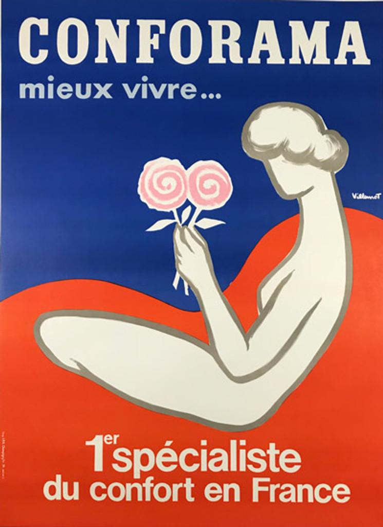Conforama Mattress original mid century modern poster by Bernard Villemot from 1978 France Linen backed