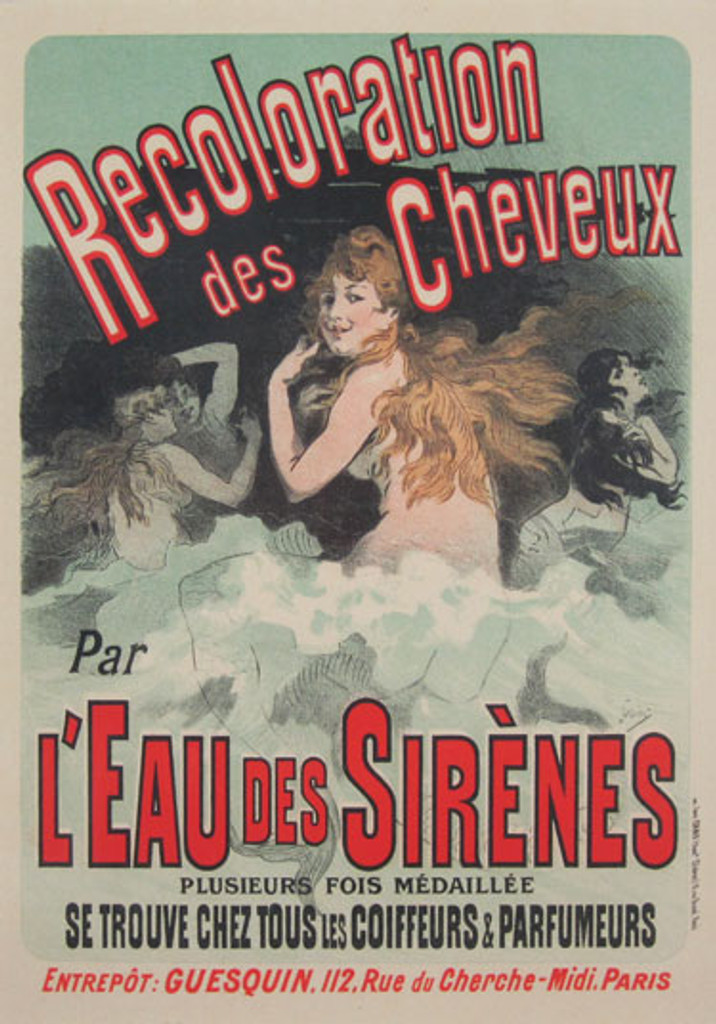 Recoloration des Cheveux Par L Eau Des Sirenes Maitre De L Affiche Plate 153 by Jules Cheret 1899- Beautiful Vintage Poster. This lithograph shows mermaids in the waves of the sea in a dark background. Original Antique Posters