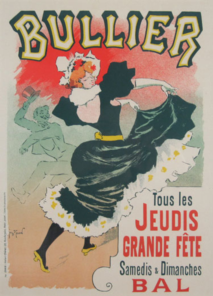 Bullier Maitre De L Affiche Plate 147 by Georges Meunier 1898- Beautiful Vintage Poster. This lithograph shows a red headed woman in a black dress dancing with a man tipping his hat behind her. Original Antique Posters