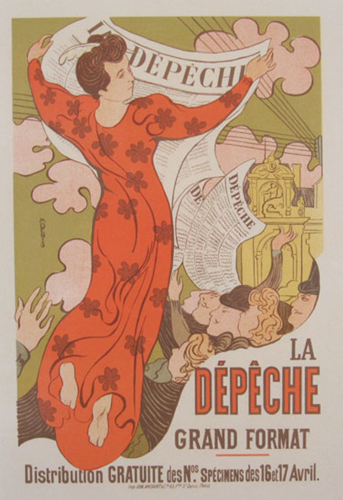 La Depeche Maitre De L Affiche Plate 140 by Maurice Denis 1898- Beautiful Vintage Poster. This lithograph shows a woman floating holding up a newspaper as other people below reach up for papers. Original Antique Posters
