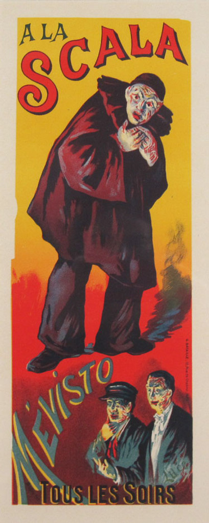 A La Scala Maitre De L Affiche Plate 139 by Maximilien Luce 1898- Beautiful Vintage Poster. This lithograph shows a scared looking dark clown and two smaller figures below him. Original Antique Posters