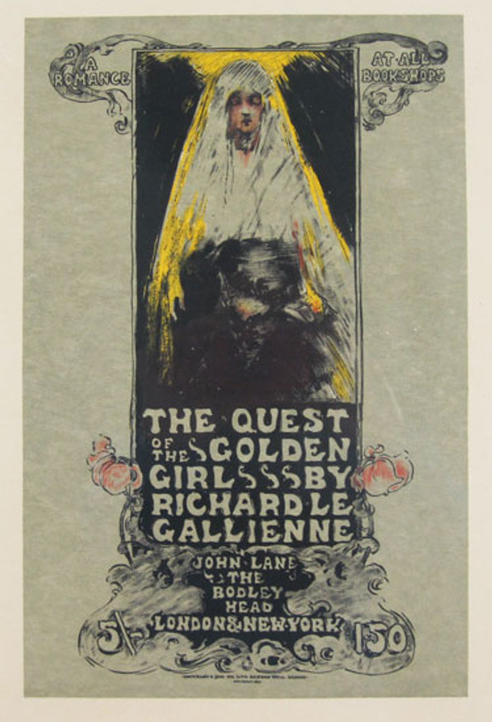 The Quest of the Golden Girl Maitre De l Affiche Plate 128 by Ethel Reed 1898- Beautiful Vintage Poster. This lithograph shows a woman in a mantilla head cover with a glowing halo behind her. Original Antique Posters
