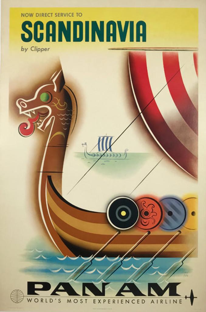 Original Vintage 1958 Scandinavia By Clipper Pan American Airlines travel poster by Jean Carlu.