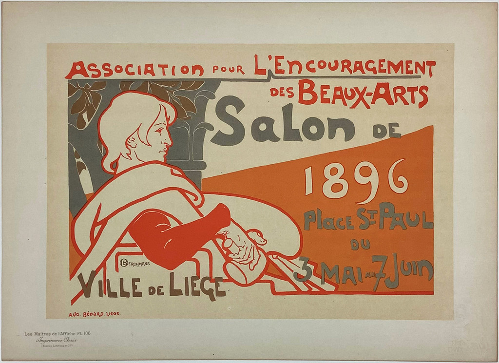 Association Pour L'Encouragement Les Maitres De L'Affiche Plate 108 by Emile Berchmans from 1897 France - Original Vintage Poster. This horizontal lithograph shows an artist with his pallet and tools outlined in orange. Antique Posters