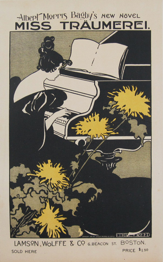 Miss Traumerei Maitre De L Affiche Plate 99 by Ethel Reed 1897- Beautiful Vintage Poster. This lithograph shows a woman in a black dress playing music on a piano with yellow flowers in front of her. Original Antique Posters
