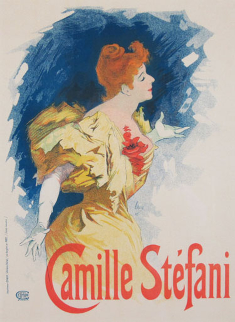 Camille Stefani Maitre de L Affiche Plate 93 by Jules Cheret 1897 - Beautiful Vintage Poster. This lithograph shows the performer with red hair in a yellow dress with puffy sleeves in profile. Original Antique Posters