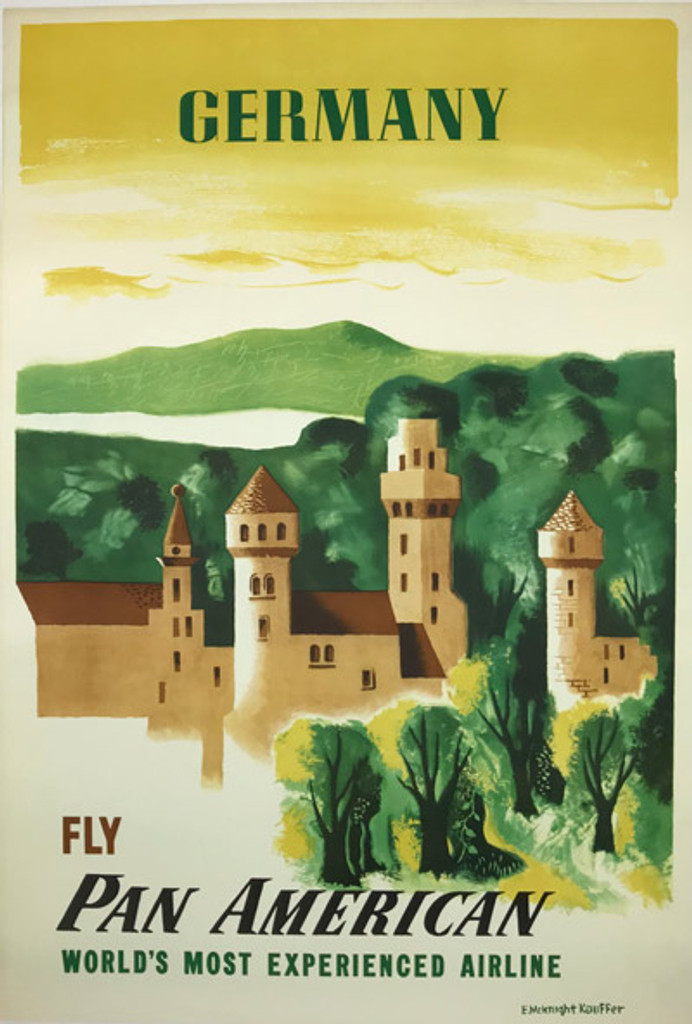 Fly Pan American to Germany original mid century modern travel  poster by Edward McKnight Kauffer from 1949.