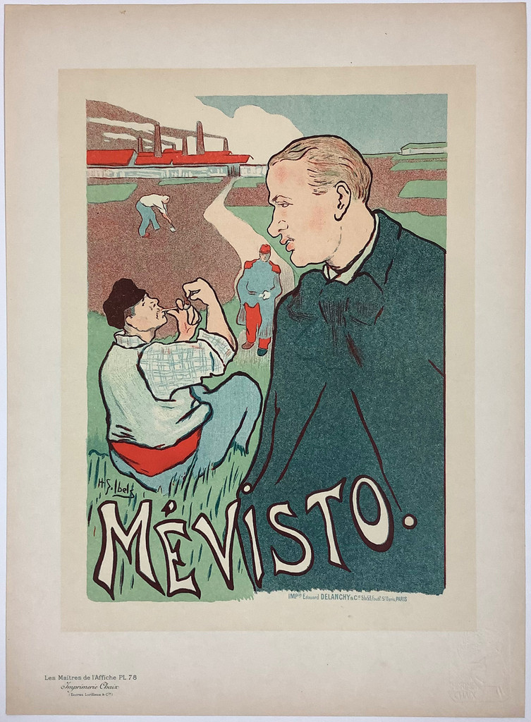 Mevisto Original Les Maitres De L'Affiche Plate 78 by Henri-Gabriel Ibels from1897 France - Original Vintage Poster. This lithograph shows men in a field with a path running through the center. One man is lighting a pipe. Original Antique Posters