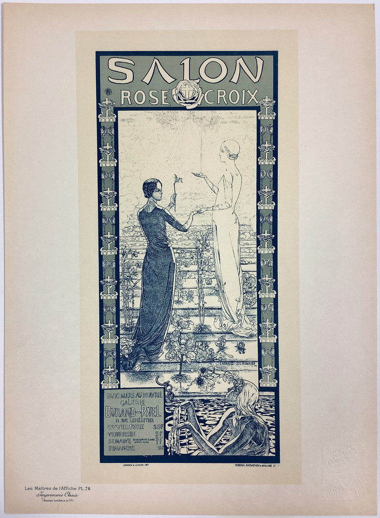 Salon Rose Croix Original Les Maitres De L'Affiche Plate 74 by Carlos Schwabe 1897 France. This lithograph shows two women, one in black and one in white, surrounded by flowers and water. Original Antique Posters