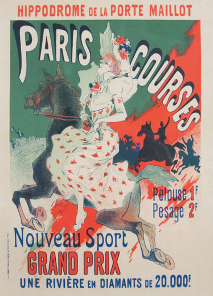 Paris Courses Nouveau Sport Grand Prix Maitres De L Affiche Plate 61 by Jules Cheret 1897. This lithograph advertising a racetrack shows a woman in a white and red flowered dress on a horse with other horses behind them. Original Antique Posters