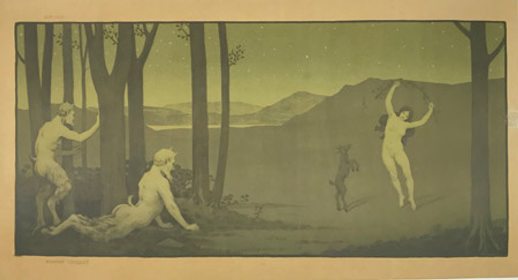 Original 1899 French Nymphe Dansant Decorative Panel # 40 by Paul Berthon Linen Backed
