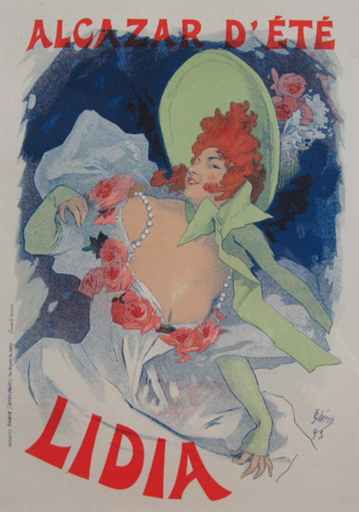 Alcazar D Ete Lidia Maitre De L Affiche Plate 25 by Jules Cheret 1896. This lithograph shows a woman in a green hat and gloves and a dress with pink flowers.