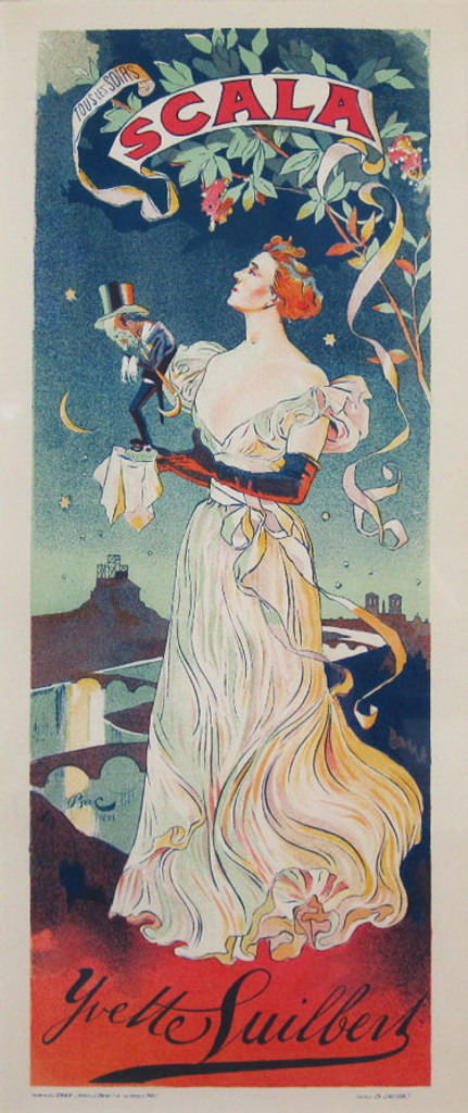 Ferdinand Bac Scala Ivette Guilbert Maitres De L Affiche Plate 19 from 1896. This lithograph shows Yvette Suilbert, performing every night at the music hall, holding a small man in a top hat. Original Antique Posters