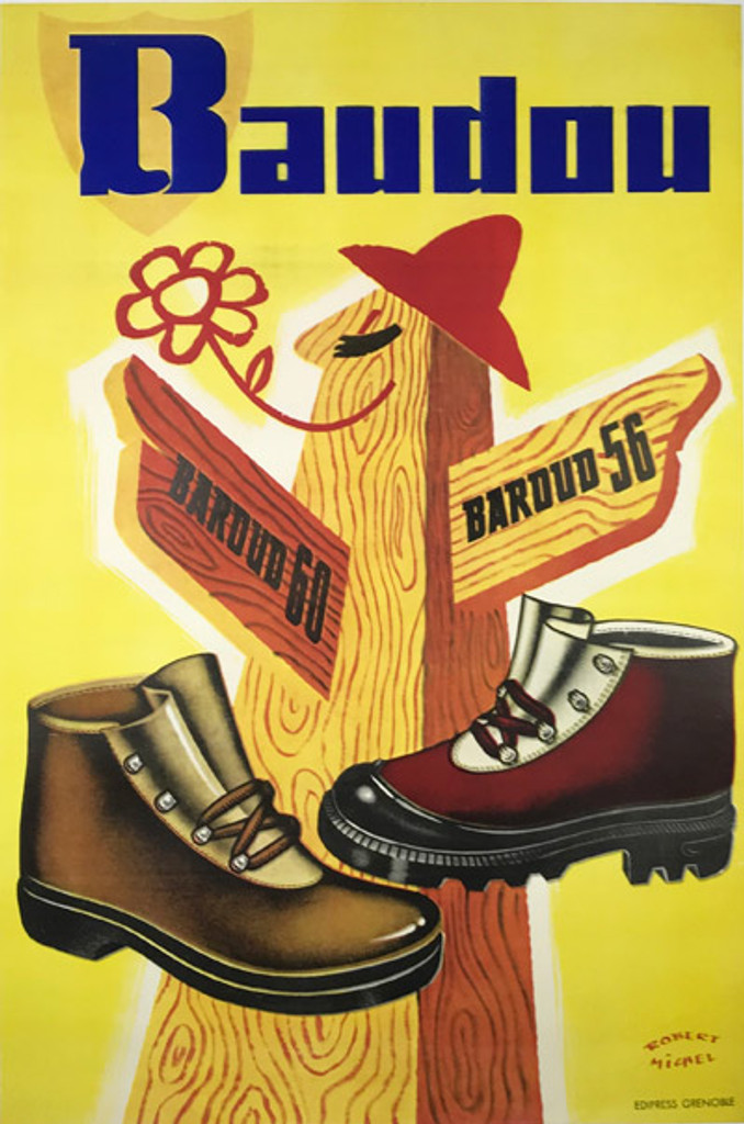 Baudou Botte Chaussure Original 1952 Vintage Poster by Robert Michel, French advertisemnt for work shoes.