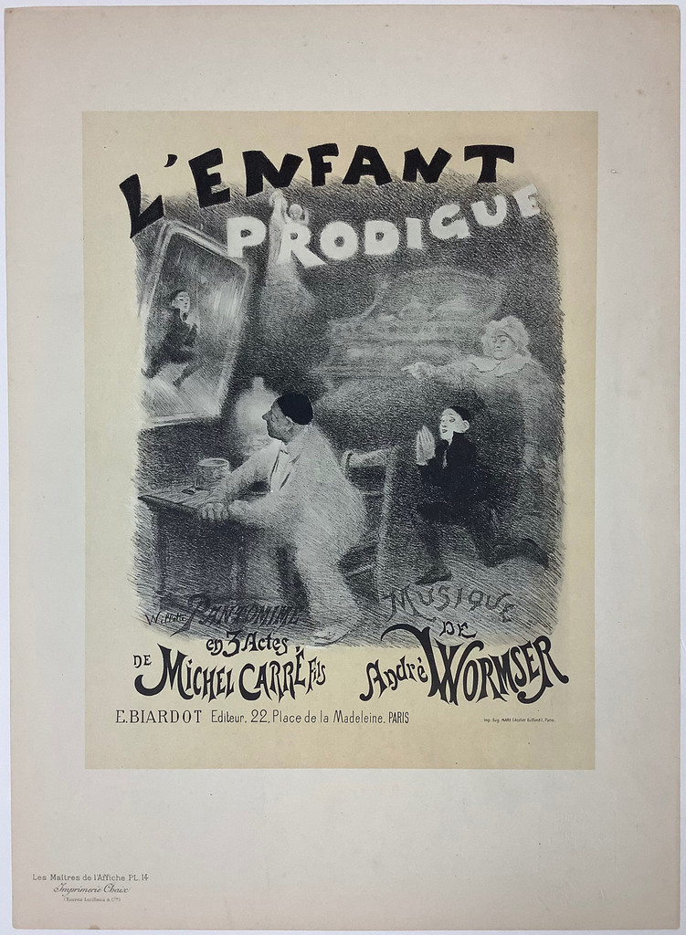 L'Enfant Prodigue Original Les Maitres De L'Affiche Plate 14 by Adolphe Willette from 1896 France. This lithograph, The Prodigal Son, shows a man seated at a table looking up into the mirror at the reflection of a boy begging and a woman pointing. Original Antique Posters