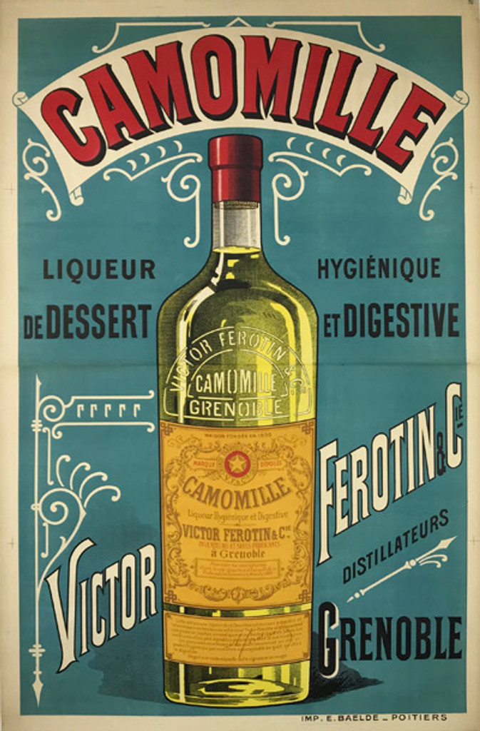 Antique French 1890 2-sheet Stone Lithograph Advertisement  Camomille Liqueur de Dessert Victor Ferotin and Cie Poster, Unknown Artist  Linen backed