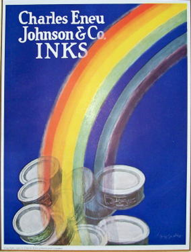 Inks original vintage poster by Leonetto Cappiello from 1928 France. French poster advertising Charles Eneu Johnson Inks shows a rainbow across a blue background ending with ink containers.