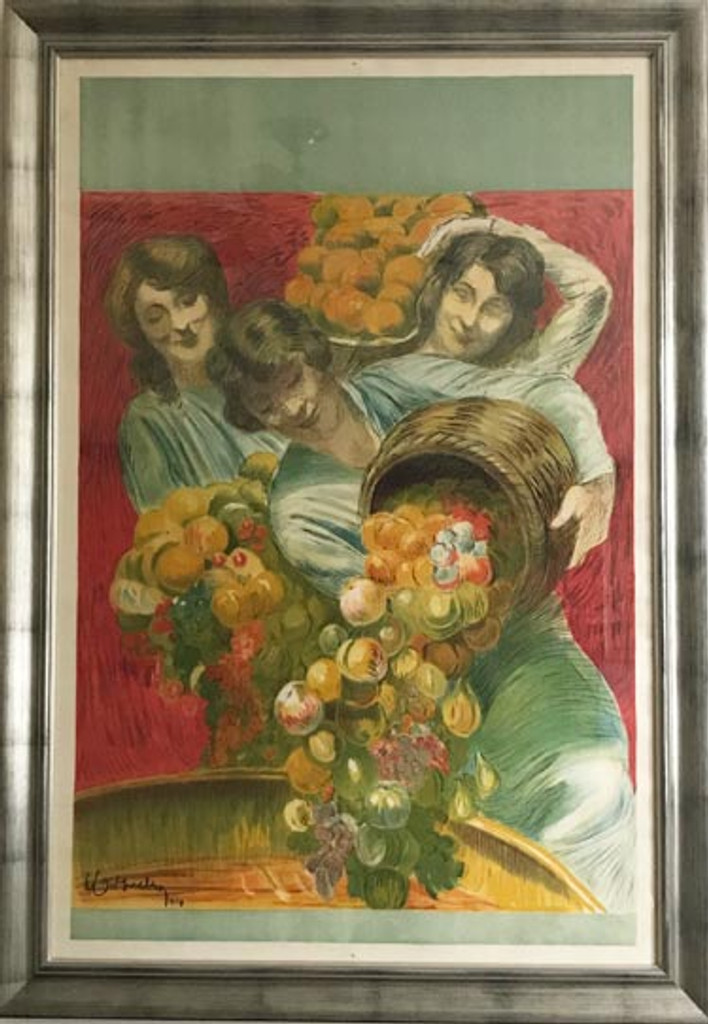 Confitures Foucault (Proof) original vintage turn of the century poster by Leonetto Cappiello from 1919 France. Features 3 women carrying baskets of fruit they are pouring them into a large vat.