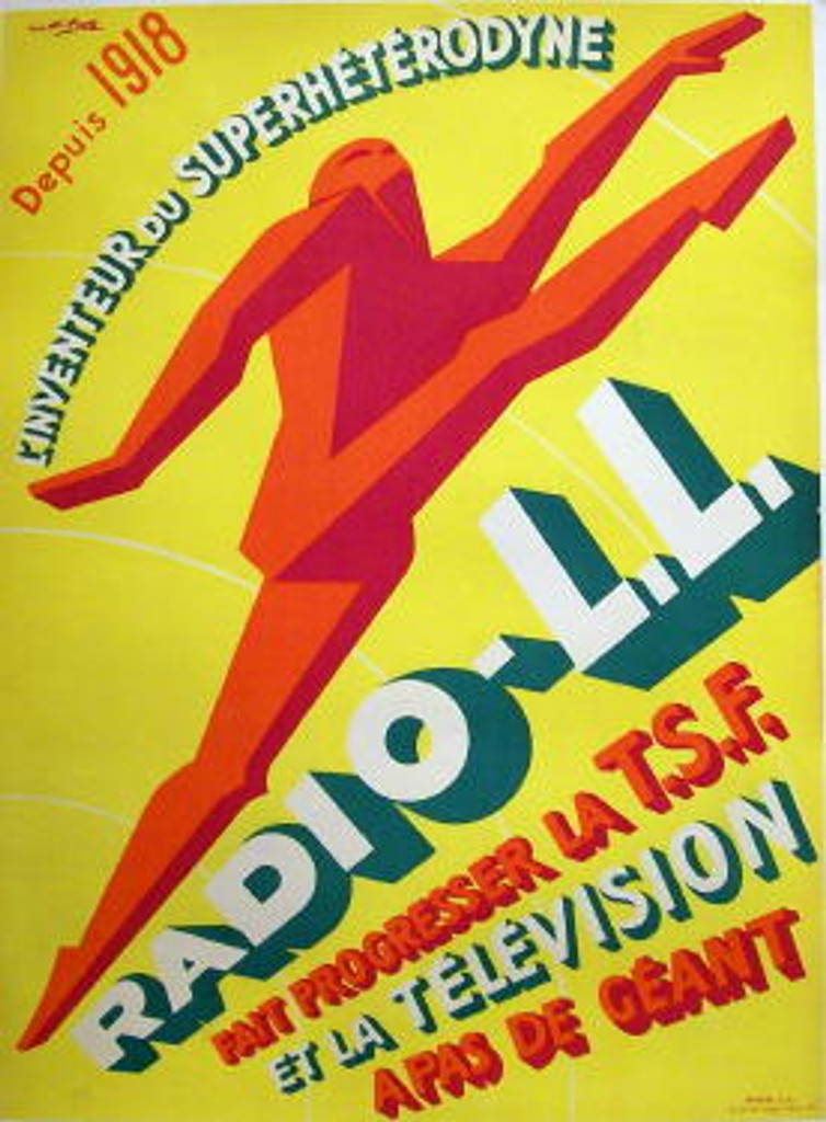 Radio-L.L. by Favre original advertising vintage poster from 1930 France. Shows a red figure of man on yellow background.