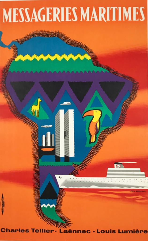 Messageries Maritimes AMERIQUE DU SUD original French 1958 vintage travel poster by Jean Desaleux Linen backed