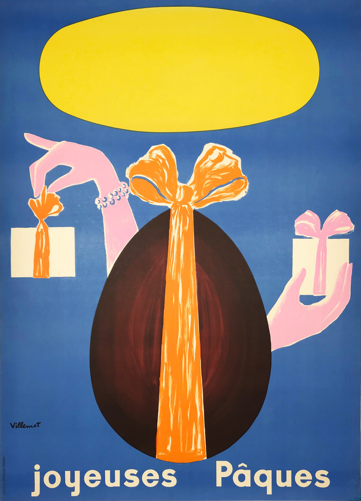 Joyeuses Paques by Bernard Villemot original vintage poster from 1965 France. Shows a chocolate egg with two hands holding a gifts.