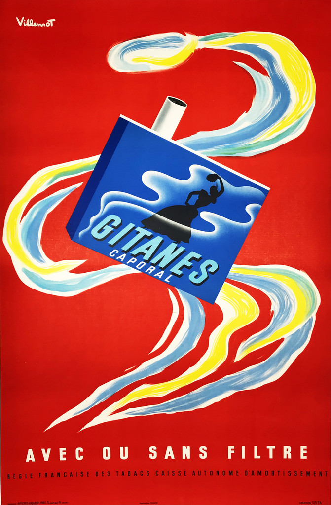 Gitanes Caporal original vintage poster by Bernard Villemot from 1960 France. Advertising a blue pack of cigarettes with a dancing woman in smoke on it on, on a beautiful red background.