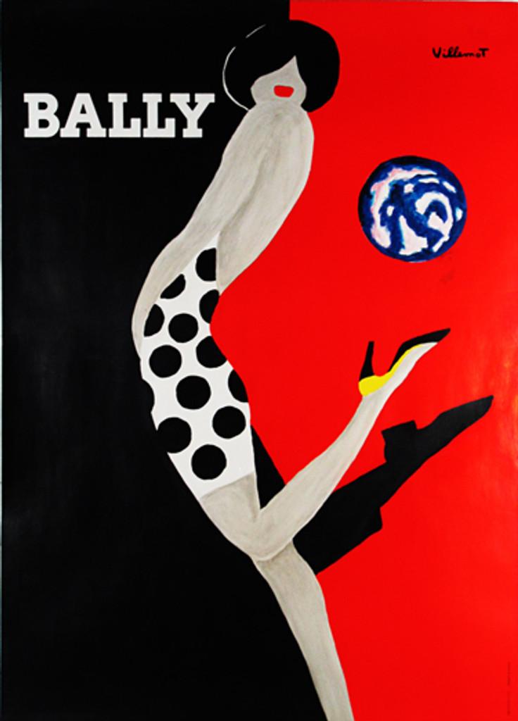 Original poster by Bernard Villemot. Bally Swiss shoe ad from 1989 France.