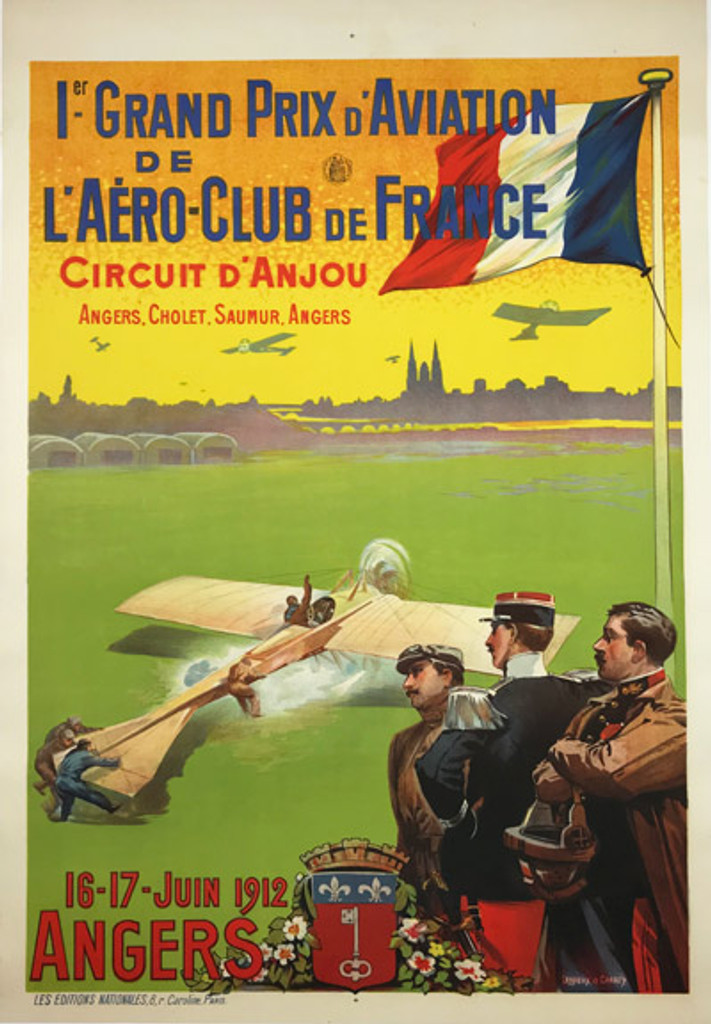 Grand Prix D Aviation Original 1912 Vintage Poster by Ernest Louis Lessieux rare early aviation race advertisement.