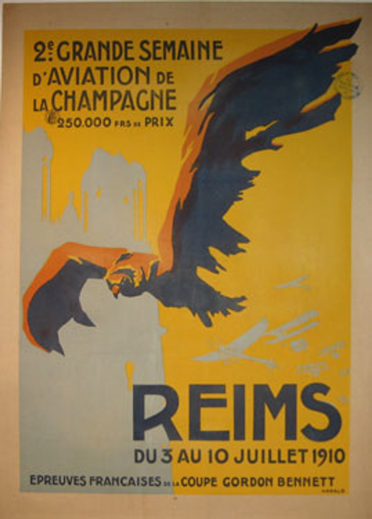 Reims original vintage aviation poster by Harald from 1910 France. Large eagle with spread wings and small airplanes around him. Transportation antique old posters.