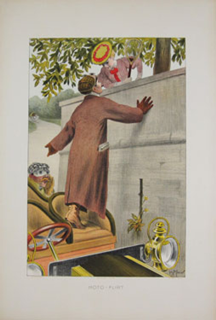 Moto Flirt original vintage poster by Meunier from 1903 France. This original antique poster features a man standing on the car seat, is based on wall and the other side is a woman with whom talking.