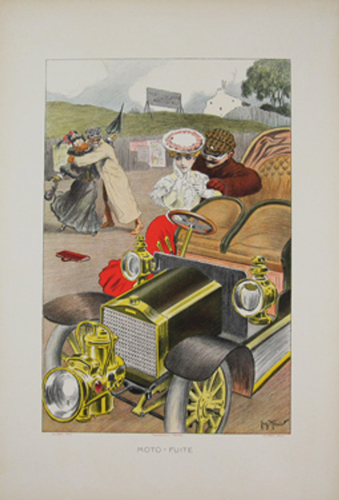 Moto Fuite original vinatge poster by G. Meunier from 1903 France. This original antique poster features a man wooing a woman near an automobile while another man in the back ground is covering a woman's mouth and holding her back.