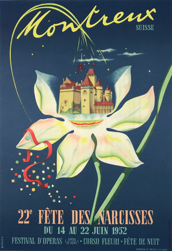 Swiss Fete de Narcisses Montreux Suisse Original Vintage Poster from 1952 by artist A. Dutoit, advertisement for flower show.