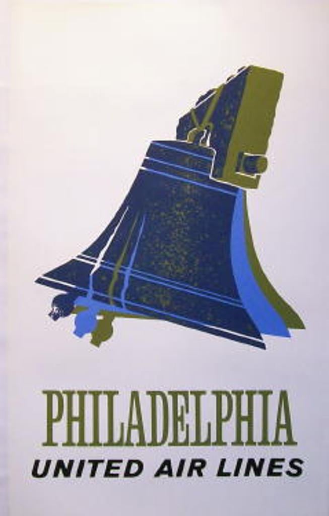 Philadelphia United Air Lines poster from 1960 USA - Original American travel vintage posters. This vertical poster features big blue bell on white background. Classic Posters