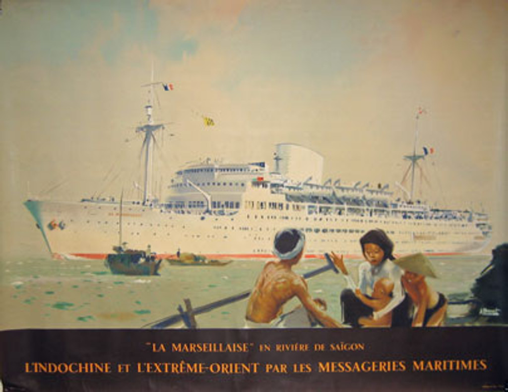 La Marseillaise In Riviere De Saigon Messageries Maritimes French horizontal original vintage travel poster from 1949 by A. Brenet.