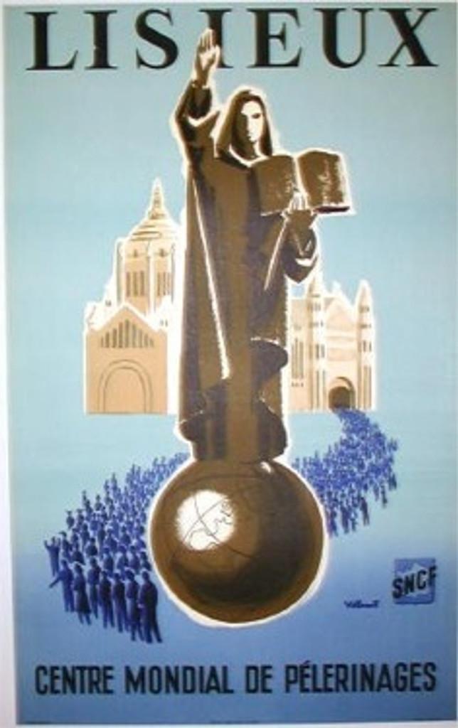 Lisieux Centre Mondial De Pelerinages original French travel poster by Bernard Villmot from 1954.