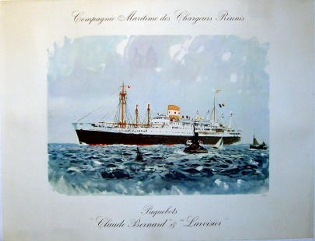Compagnie Maritime des Chargeurs Reunis original travel French poster from 1948 by A. Brenet. Horizontal poster features large ship in the ocean sea with couple small boats near by.