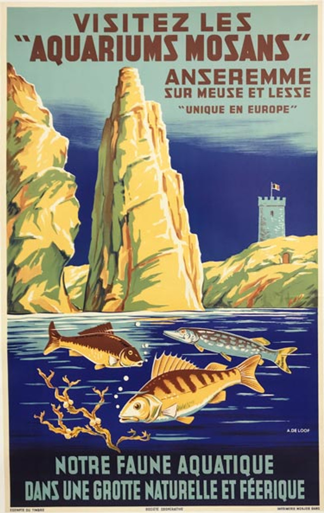 Aquariums Mosans original vintage Belgium travel poster from 1938 by A De Loof. Features 3 fishes jumping above water and beautiful mountains in a background.