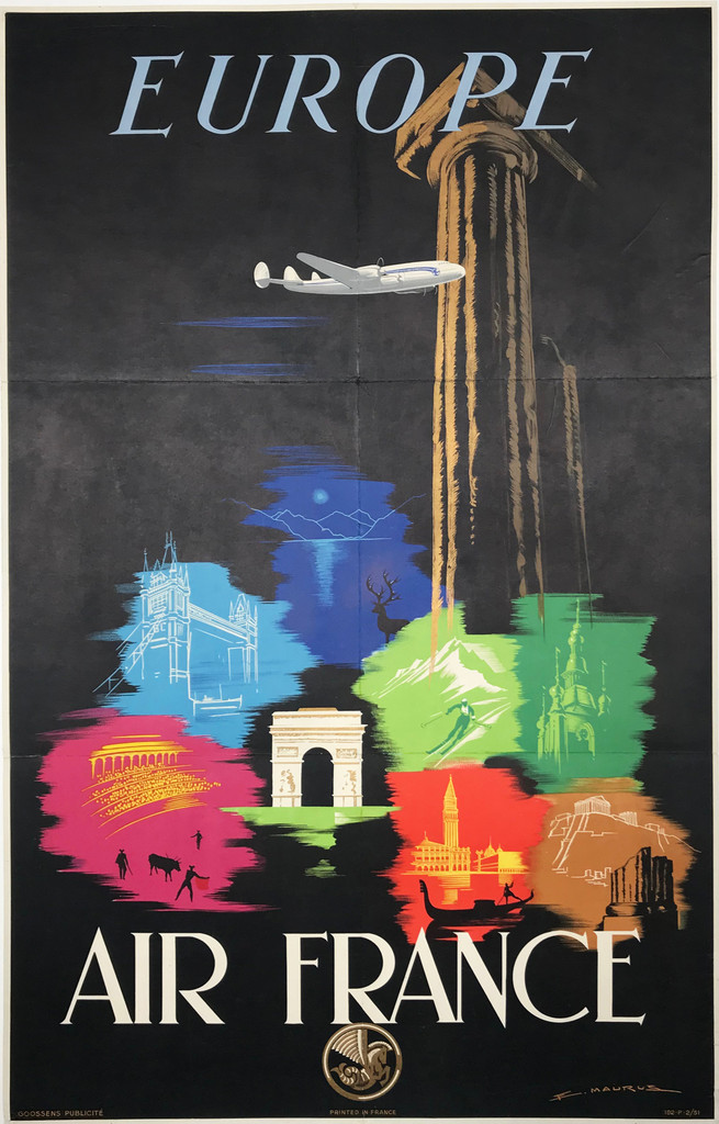 Air France Europe original vintage travel poster by Maurus from 1948 France. Feature images of famous historical buildings / monuments in the world with large plane flying over on a black background