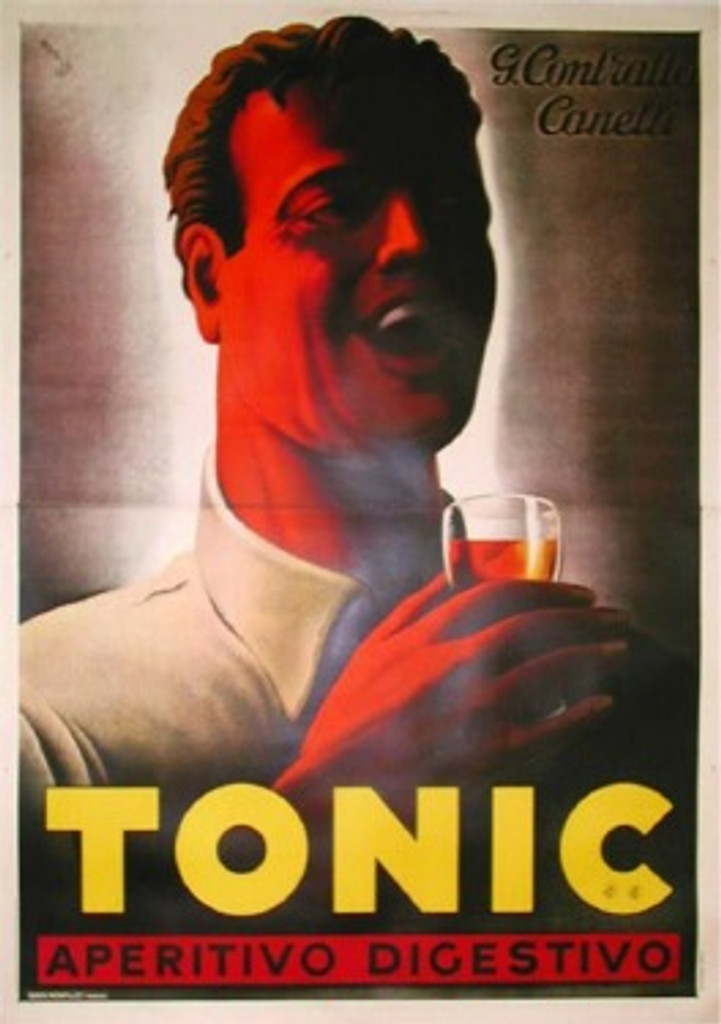 Tonic Aperitivo Digestivo poster by M. Gros 1938 Italy. Italian wine and spirits poster features a man, shown from the shoulders up, laughing as he drinks a glass of aperitivo. Original Antique Posters.