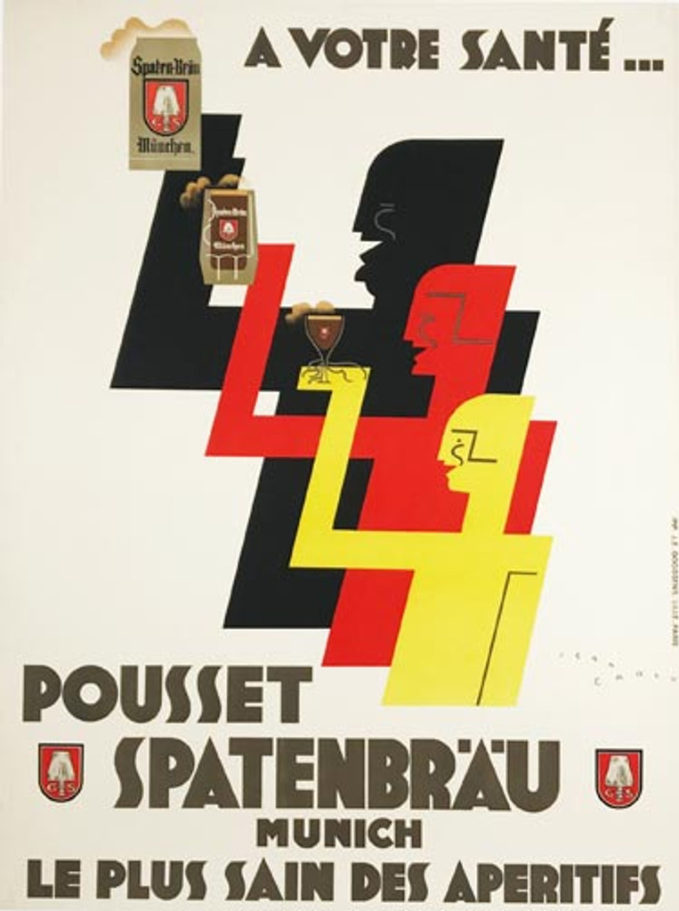 Pousset Spatenbrau original poster by Jean Carlu from 1925 France. This French poster features 3 graphic figures in black, red and yellow holding mugs and glasses of German beer. Great art deco vintage image.