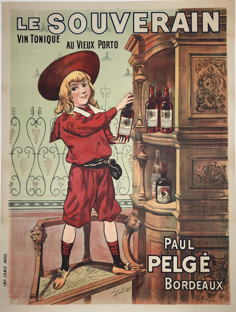 Le Souverain by Imp. Camis 1910 France. French wine and spirits poster features a child in a red suit and hat standing on a chair getting a bottle off the top shelf. Original Antique Posters.