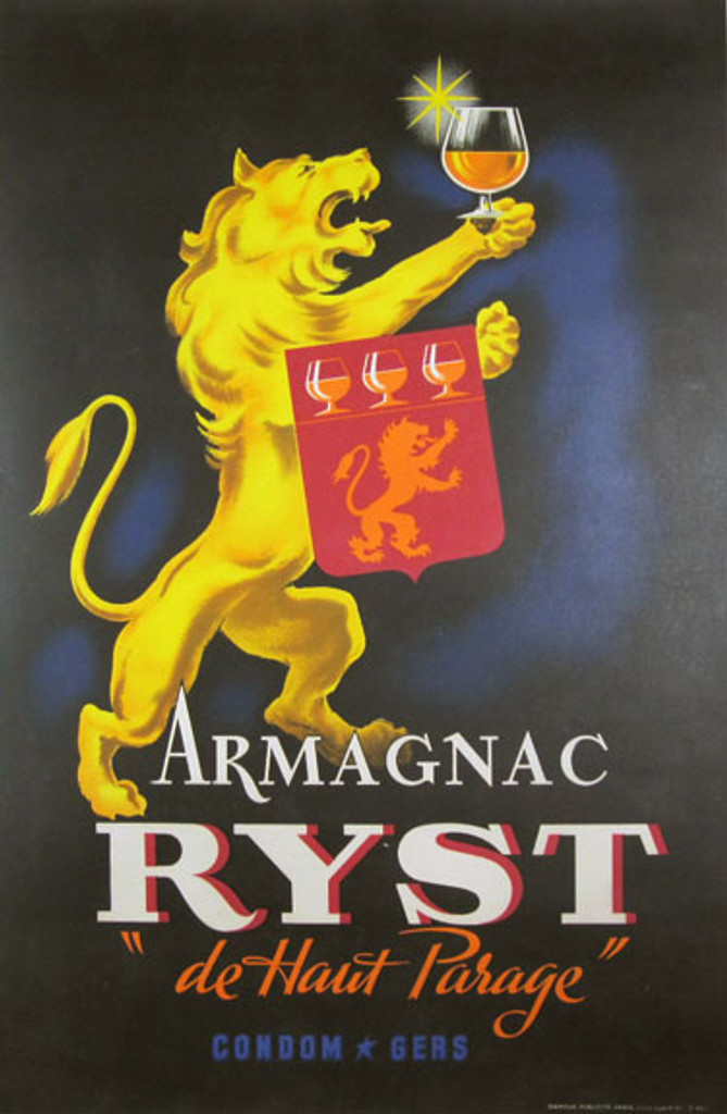 Armagnac Ryst 1945 France. French wine and spirits poster features a yellow (gold) lion holding up a glass in one paw and with a red flag draped over his other arm. Original Antique Posters.