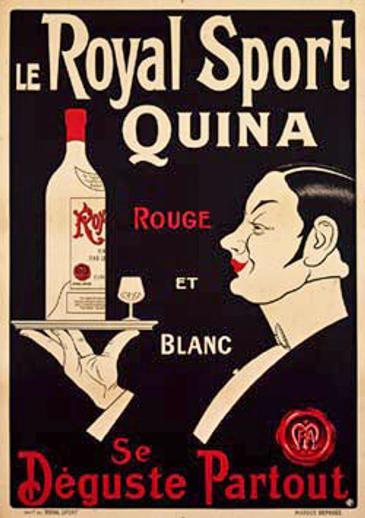 Le Royal Sport Quina 1920 France - Beautiful Vintage Poster. This vertical french wine and spirits poster features a black and white waiter in profile holding a tray with a bottle and glass. Original Antique Poster
