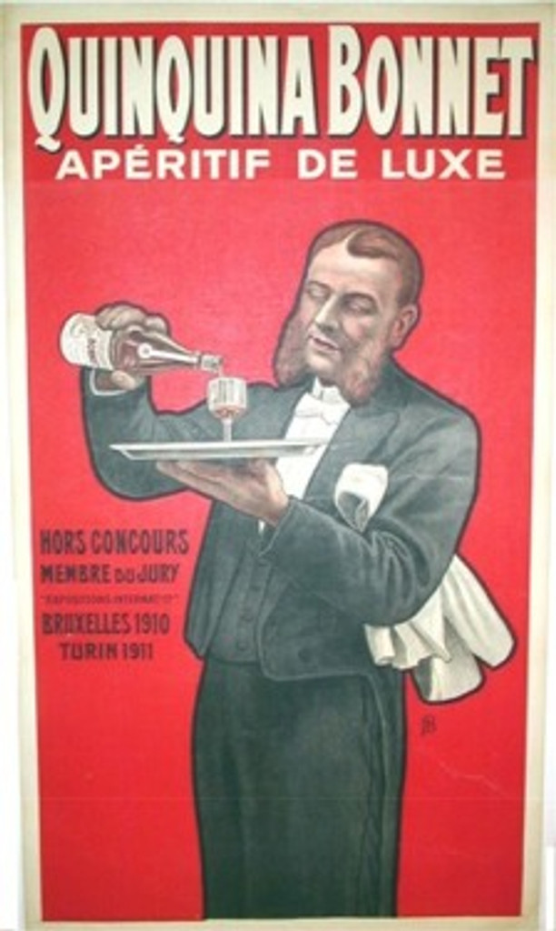 QuinQuina Bonnet 1911 France. French wine and spirits poster features a waiter, man in a tuxedo, with long beard or chops holding a tray with a glass as he pours a bottle. Original Antique Posters.