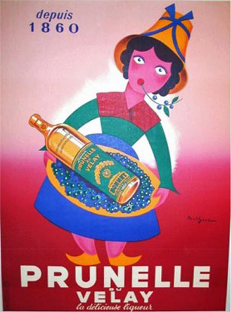 Prunelle du Velay by Igerz 1950 France. French wine and spirits poster features a cartoon woman in a colorful dress chewing a twig and holding a tray with a bottle against a gradated red background. Original Antique Posters.
