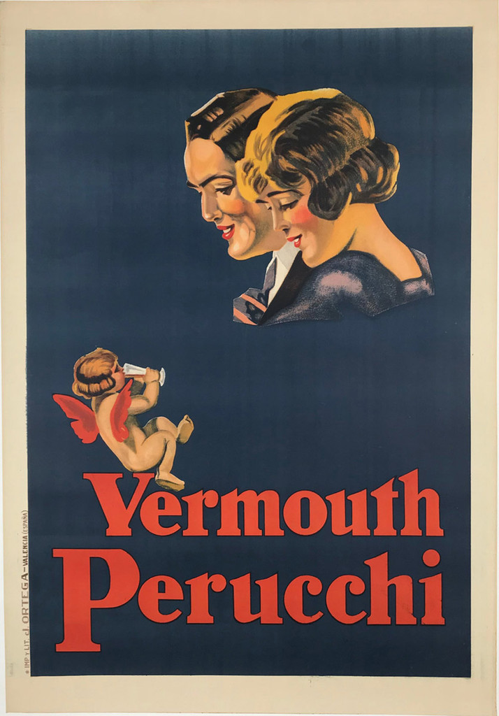 Vermouth Perucchi 1930 Spain. Spanish wine and spirits poster features a couple looking down at a cherub, baby with red wings, drinking on a blue background. Original Antique Posters.